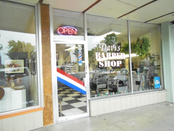 An empty Davis Barber Shop.